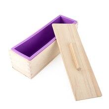 Прямоугольный деревянный Мыло плесень с силиконовый вкладыш крышка кусковое мыло Плесень инструмент Diy Мыло Свеча Плесень 1200 г форма делая инструмент