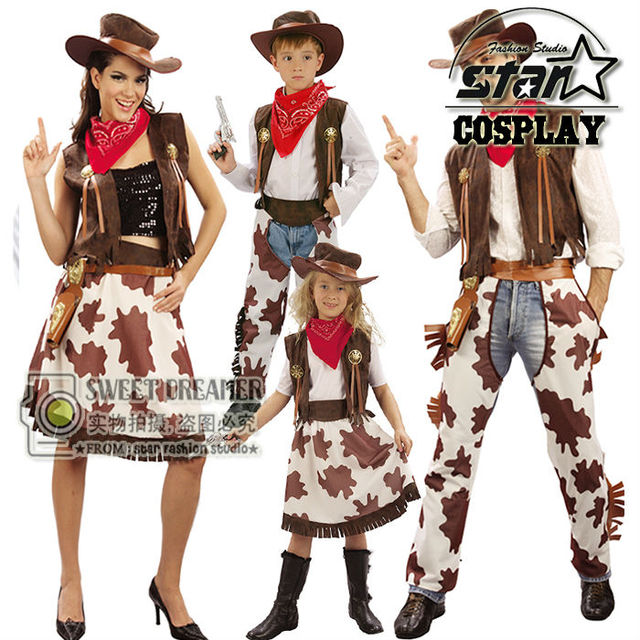 Halloween Costume for Dad Mom Cosplay Western Cowboy Costume & Cowgirl Suits Carnival Son Boys Daugther Girls Dress Up Clothes