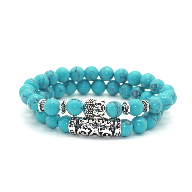 2 pcs/set Antique Silver Plated Buddha Head Charm with Lava Onyx Turquoises Natural Stone Beads Bracelet Set Pack For Men Women