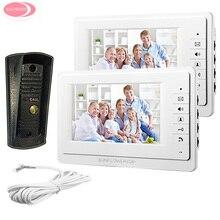 "Video Door Phone Doorbell Intercom + Night Vision Metal Waterproof Camera 7"" Monitor For 2 Apartment Video Door Phone Bell Kit"