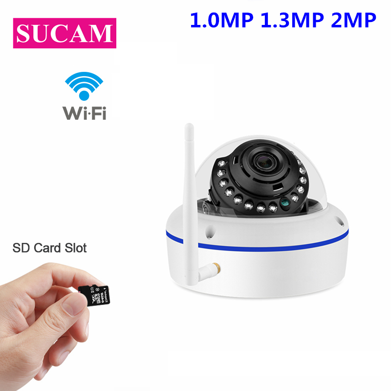 SUCAM Vandalproof Dome Wifi IP Security Camera 1080P SD Card Slot 20M Infrared Night Vision Video CCTV Wireless Camera Max 64GB sucam wifi ip camera 1080p motion detection video surveillance wireless security outdoor camera with micro sd card slot max 64gb