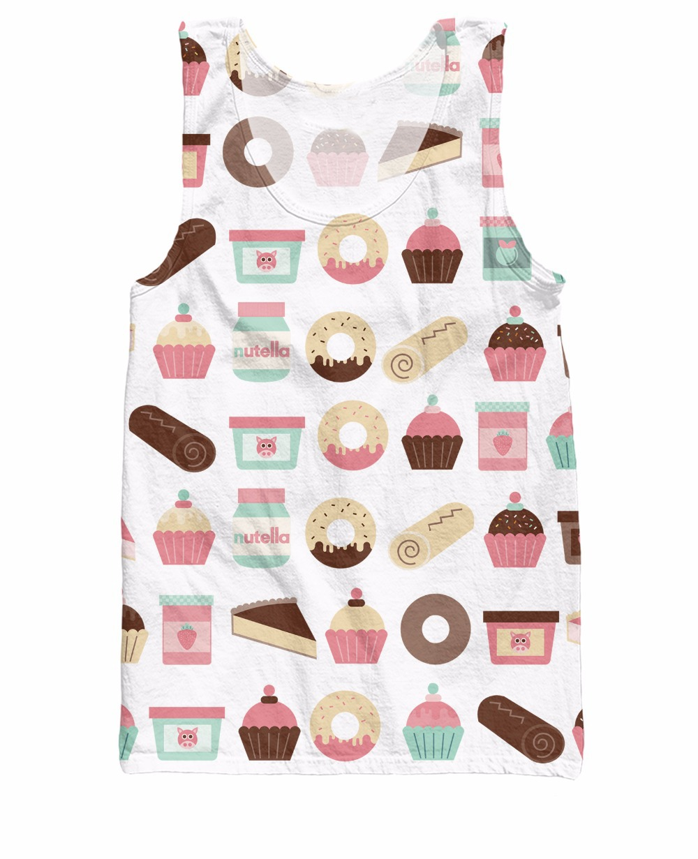 RuiYi new arrive Cupcakes Pattern Tank Top Sexy cupcakes donuts 3d print Vest Summer Style Jersey for wome