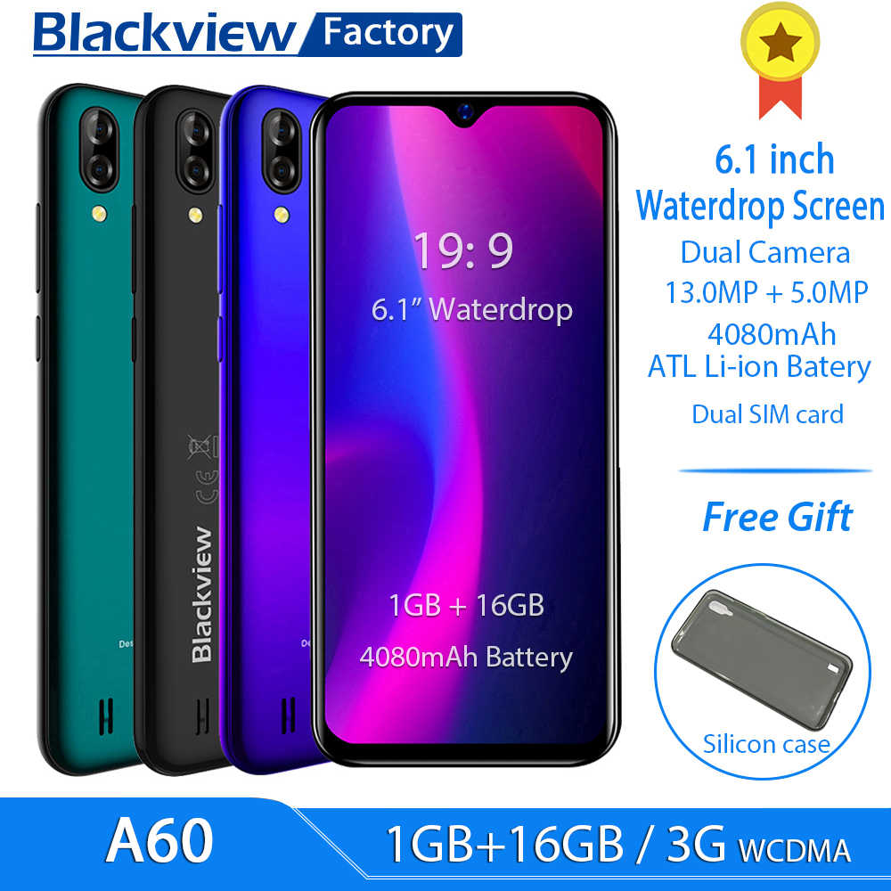 "Blackview A60 4080mAh Smartphone Android 8.1 13MP Rear Camera 16GB cell phone MT6580 Quad core 6.1""Waterdrop Screen mobile phone"