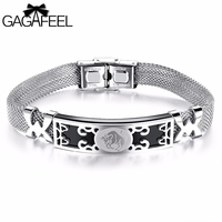 GAGAFEEL Hot Fashion Men Jewelry High Quality Unisex Stainless Steel Bracelets12 Constellation Signs Bangle Gifts Free