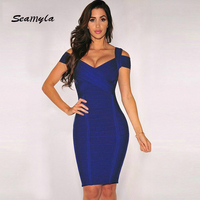 Seamyla Wholesale Hot Selling New Winter Dress V Neck Evening Party Dresses Sexy Sleeveless Women Bodycon