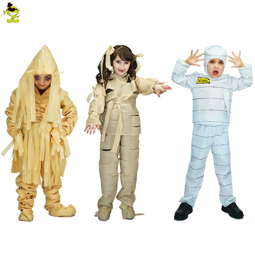 Boys&girls Terror Mummy Costumes Kids Scary Mummification&zombie&corpse Role Play Outfits For Halloween Masquerade Party For Kid Home
