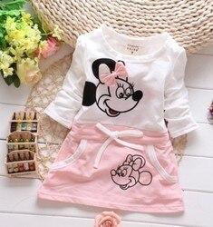 Детская одежда, платья для девочек, новая модная летняя одежда для маленьких девочек с милым мультяшным рисунком Минни, подходит для детей с...