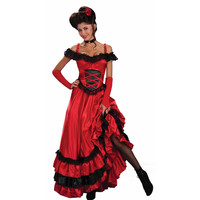 plus size Flamenco French and Spain dance costume women can can red dance dress Sexy Red Costume Western Saloon Girl Dress A3004