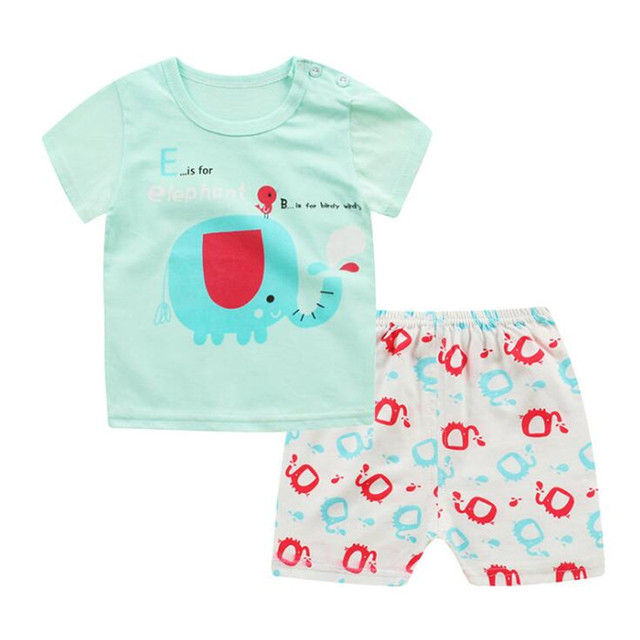 2018 Boys Clothing Sets Summer Baby Boys Girl Clothes Suit  Shirt +Pants 2pcs Clothes Cheap Sale Baby Clothing Sets