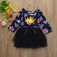 Toddler Baby long sleeve dresses for girls Kids Clothes wedding Party Princess Tutu Floral floral print Dress Photography Props