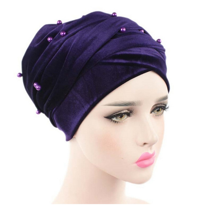 New luxury beaded pearled velvet turban long head scarf headwrap women muslim hijab Bandanas Hair Accessories gorros de baño con flores