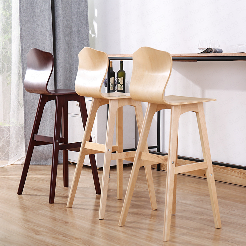 2B Solid Wood Bar Stool Nordic Creative High Back Chair Bar High Stool Dining Chair High Chair Modern Minimalist Front Bar Chair