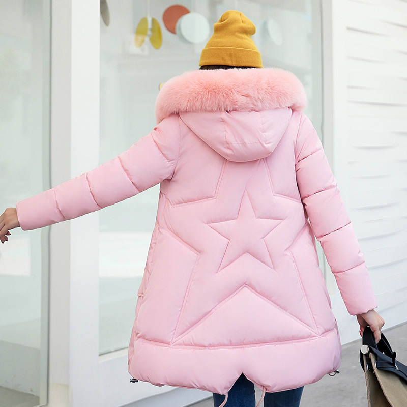 2017 New Fashion Winter Parkas Slim Down Jacket Stars Hooded Coat Long Cotton Padded Fur Collar Parkas Women Outwear Plus Size qazxsw 2017 new winter cotton coat women slim hooded jacket two sides wear long parkas fur collar winter padded abrigos hb339