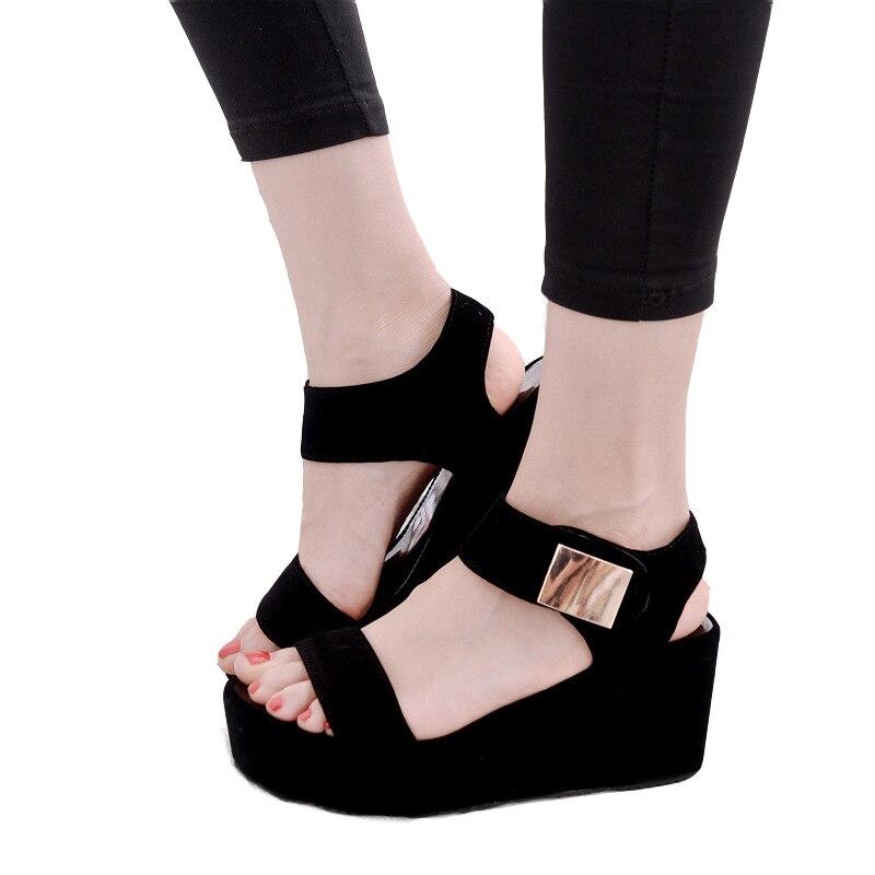 Kostenloser versand schuhe frau 2018 sommer sandalen frau schuhe sajdals plattform mit hohe ferse und keil mit ein paar von sandalen