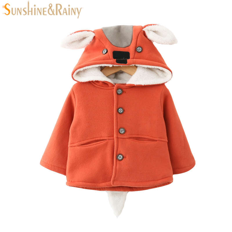 Newborn Baby Coats Baby Girls Clothing Cotton Outerwear Cartoon Lovely Deer Hooded Infants Coat Winter Coat For Girls Jackets