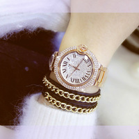 2016 Verão Mulheres Completa Rhinestone Relógios Áustria Cristal Diamante Pedra Relógio Grande Mostrador do Relógio Vestido Relógios de Aço Inoxidável relógio de Pulso