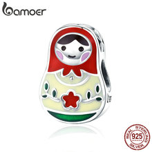 BAMOER 100% 925 Sterling Silver Colorful Enamel Matryoshka Beads Charms fit Women Bracelets & Bangles Jewelry Making SCC1086 цена