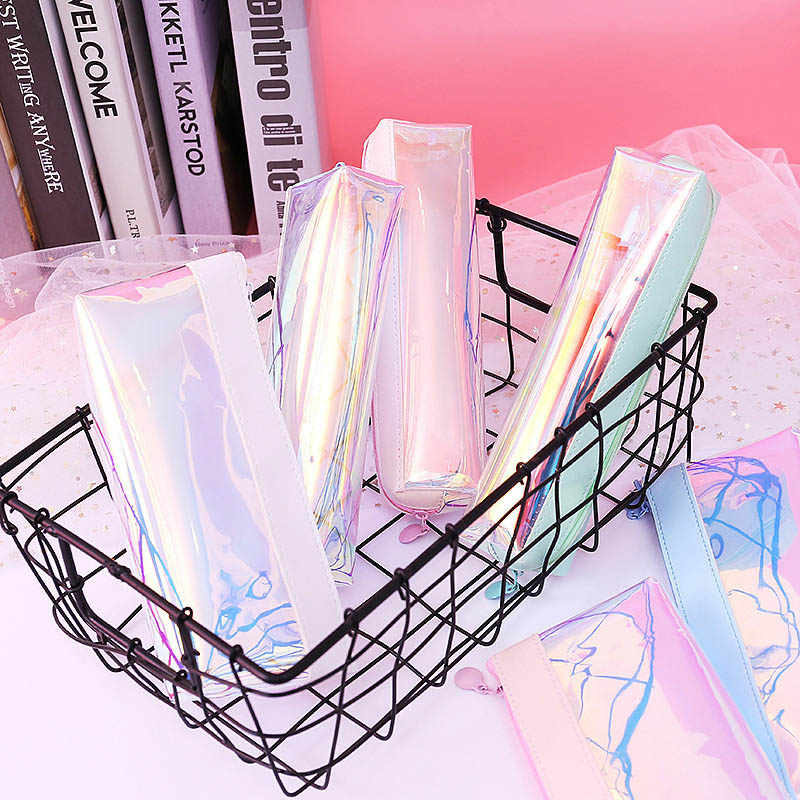 Glitter Pencil Case Creative Laser Transparent PVC Pencil Bag School Kawaii Pen Bag For Girls Gift  Stationery Chancery Escolar