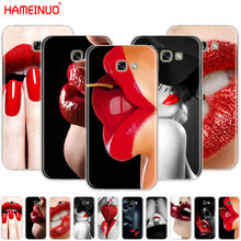 HAMEINUO Red Sexy Lips girl Luxury Korea Monroe cell phone case cover for Samsung Galaxy A3 A310 A5 A510 A7 A8 A9 2016 2017 2018(China)
