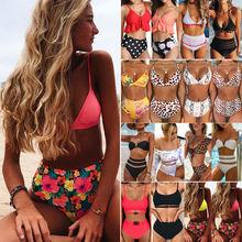 цена на Women Padded High Waist Bikini Set Floral Swimsuit Female Beachwear Bathing Suit Swimwear