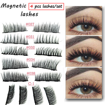 4Pairs/Set Magnetic Eyelashes Extension Eye Makeup Accessories 3D Mink Lashes Soft Hair Double Magnet False Eyelashes Dropship Health & Beauty