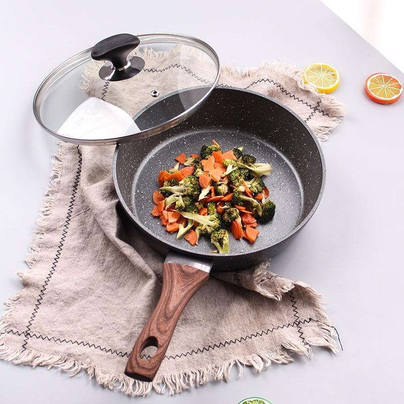 20CM/24CM/28CM Non-Stick Steak Frying Pan For Pancake Egg Omelet Thickened Aluminum Alloy Wok Skillet Medical Stone Saucepan