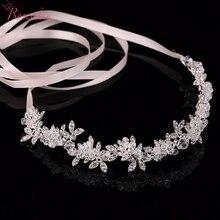 Hecho a mano de novia de cristal brillante pelo de la boda pieza floral piezas Rhinestone Hojas pelo de la boda de la boda adornos de joyería RE198