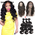 10A Brazilian Body Wave With Closure 360 Lace Frontal With Bundle Pre Plucked Mink Brazilian Virgin Hair Bundles With Closure