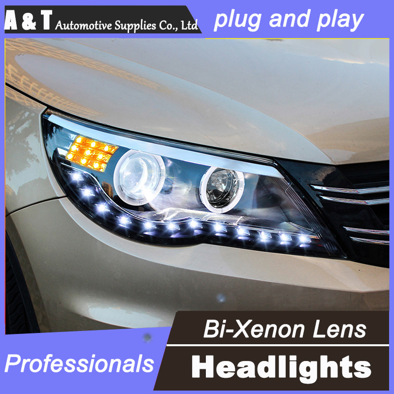 car styling For VW Tiguan headlight assembly angel eyes 2010-2012 For Tiguan bi xenon lens h7 with hid kit 2 pcs. 1pc 2 5 hid xenon ultimate bi xenon projector lens parking car styling headlight diy lamp for h1bulb with shrouds h4 h7 socket