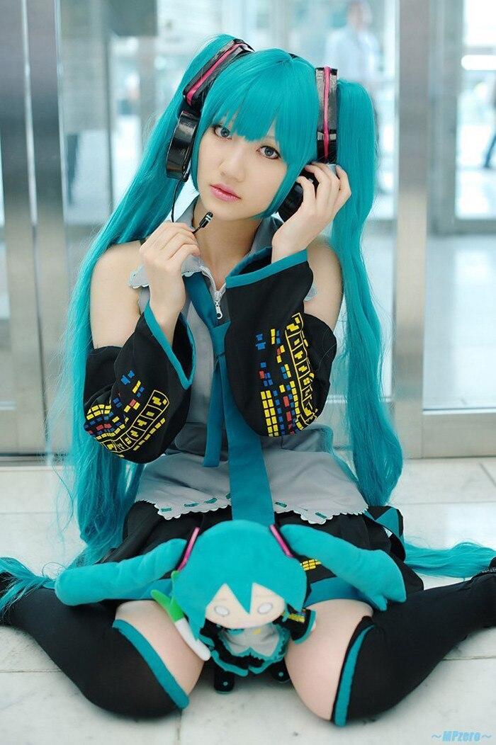 Vocaloid Cosplay Hatsune Miku Cosplay Costume outfits Anime Cosplay harajuku Costume Full Set dress Socking gauntlets