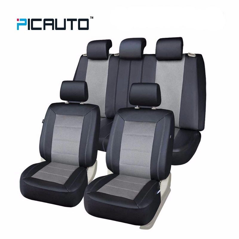 PIC AUTO Universal Car Seat Covers Technology 3D Air Mesh Fabric & PU Leather Auto/Car Seat Protector+Side Airbag Full Set Grey