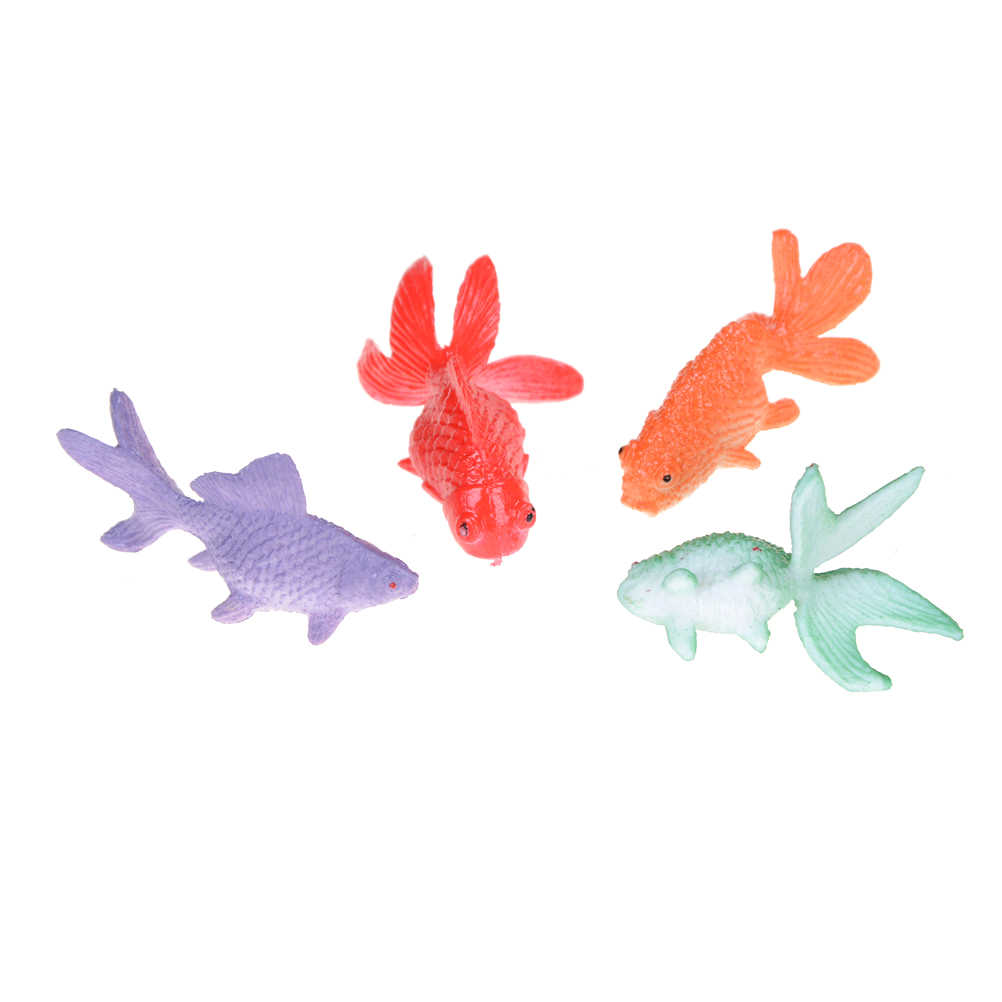 Wholesale 12pcs 3-4cm mini vivid Simulated colorful goldfish toy Kids Party  Gift Plastic Gold Fish Figures Model toys