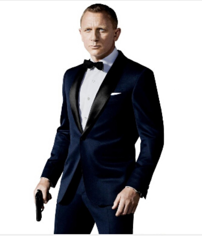 Custom Made Slim Fit Dark Blue Tuxedo Inspired By Suit Worn In James Bond Wedding Blazer For Men Groom Clothing Pants Bow Black