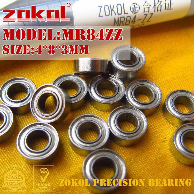 ZOKOL MR84-ZZ bearing MR84ZZ Miniature bearing  Deep Groove ball bearing 4*8*3mm s634zz stainless steel deep groove ball bearing 4x16x5mm miniature bearing ss634zz 4 16 5