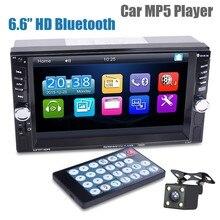 Reproductor Mp5 para coche con cámara de visión trasera, pantalla táctil Digital HD de 6,6 pulgadas, carga por transmisor Fm con Bluetooth, dispositivos USB
