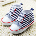 2015 Baby Boy Shoes Unisex Sneakers Lace-Up Soft-Soled Dark Blue And White Stripes Canvas Toddler Infant Girl Shoes 0-18 Months