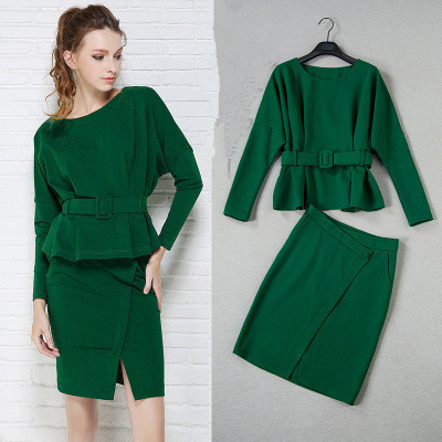 Skirt suit women office ladies skirt suits High quality 2016 new green elegant batwing sleeve blouses and Cut Skirts set NS235