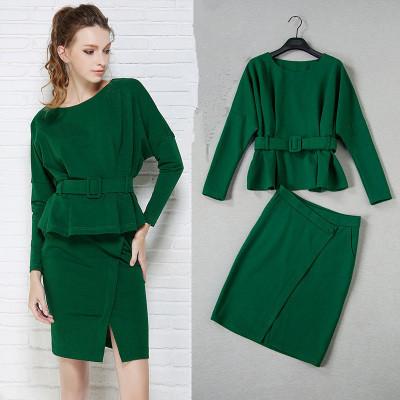 Traje de falda de las mujeres falda de las señoras trajes de oficina de Alta calidad 2016 nuevo verde elegante de la manga del batwing blusas y Faldas de Corte set NS235