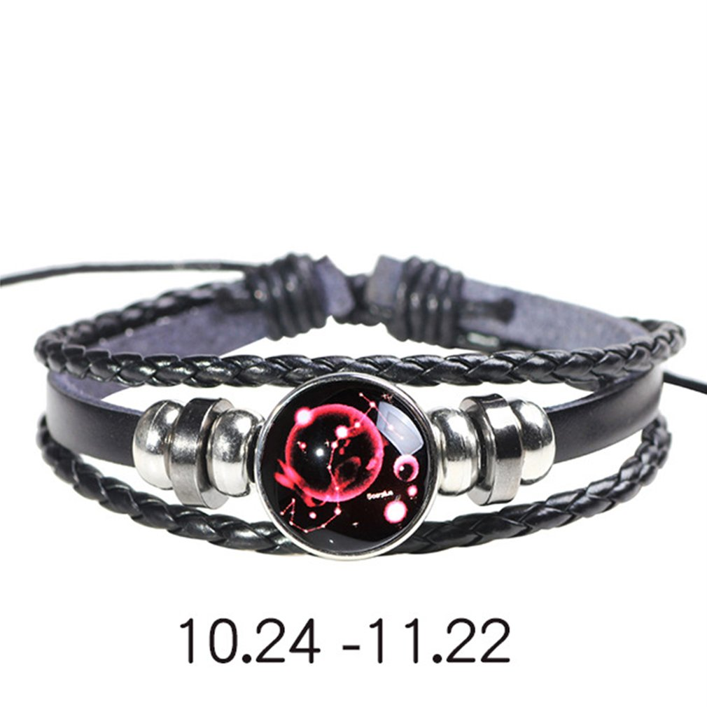 Charm Bracelets Helpful 12 Constellation Zodiac Sign Black Braided Leather Bracelet Cancer Leo Virgo Libra Woven Glass Dome Jewelry Punk Men Bracelet Orders Are Welcome. Bracelets & Bangles