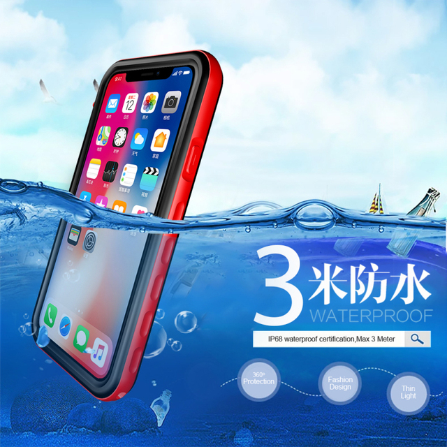 huge discount 398fd 0f2c0 Waterproof Case for Etui iPhone X Case Clear Back Front 360 Full Protection  for Apple iPhone 8 7 6 Plus Cover iPhone 8Plus 7Plus-in Fitted Cases from  ...