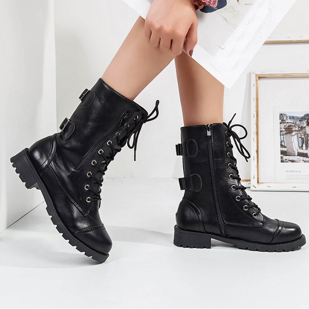 6e9552d1636e YOUYEDIAN Boots Women 2018 Autumn Lace Up Leather Boots Low Heel Fashion  Casual Female Shoes Women