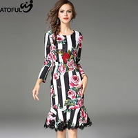 ATOFUL 2017 3D Embroidery Rose Printing Lace Ruffles Lotus Leaf Dress Women Wear To Work OL