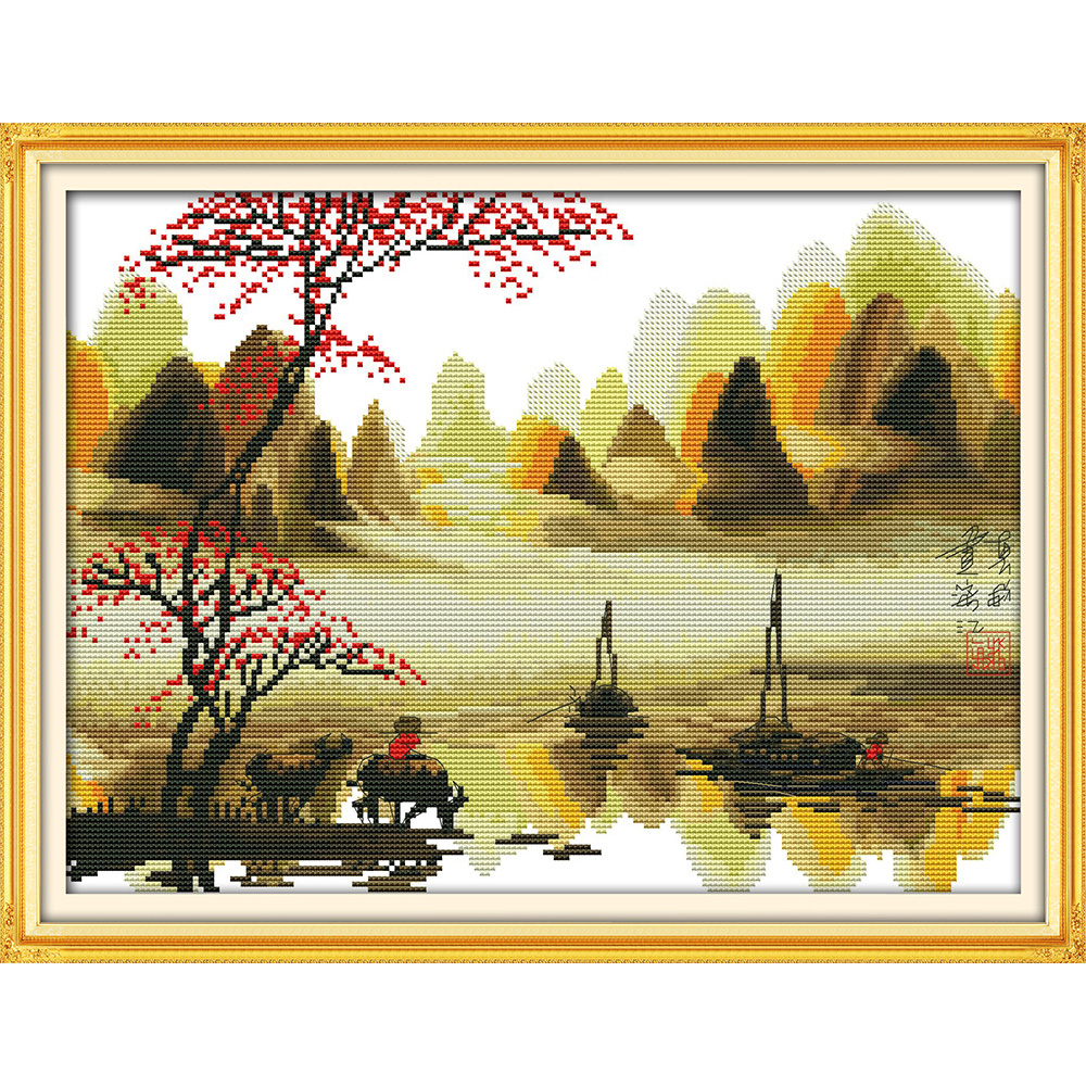 Everlasting love Poetic lijiang Li River (2) Chinese cross stitch kits Ecological cotton 11CT DIY christmas decorations for home