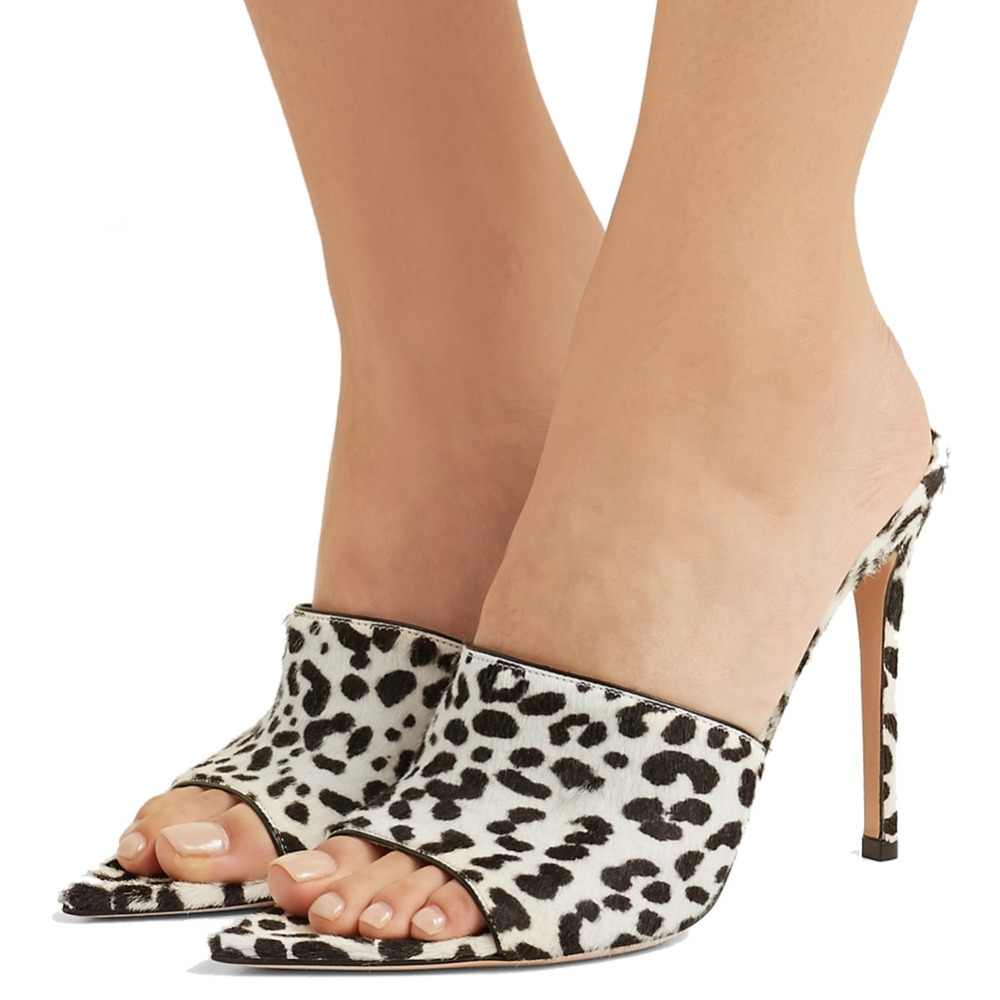 0e02157b7 ... Pointy Open Toe White Leopard High Heel Mules Sexy Sandals Women Dress  Heels Ladies Summer Transparent ...