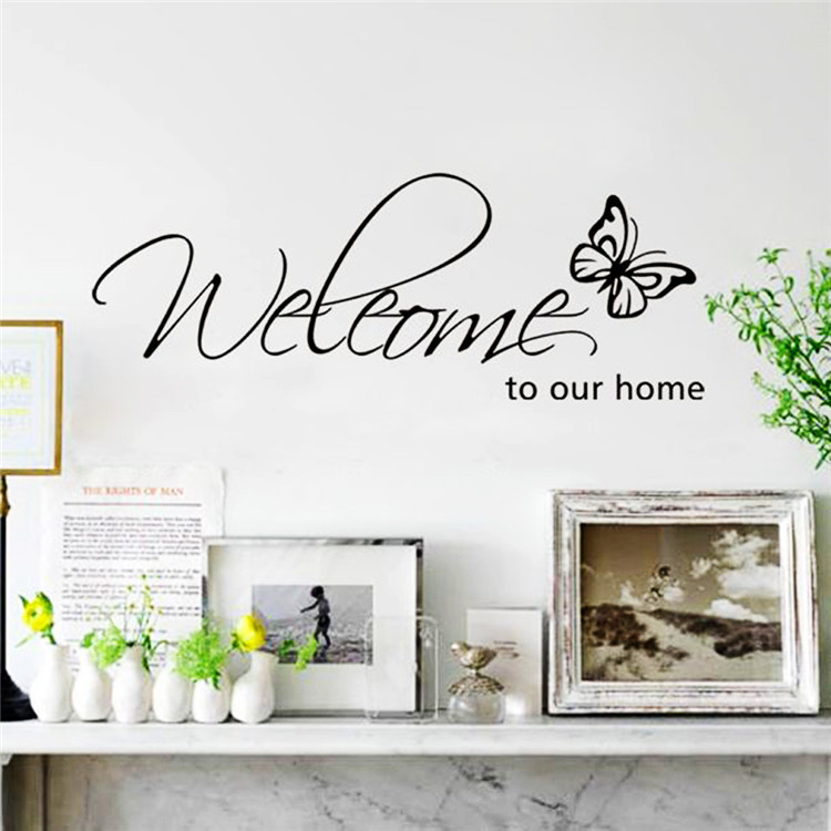 Welcome To Our Home Quote Letter Wall Sticker Home Decoration For Living Room Modern Diy Art