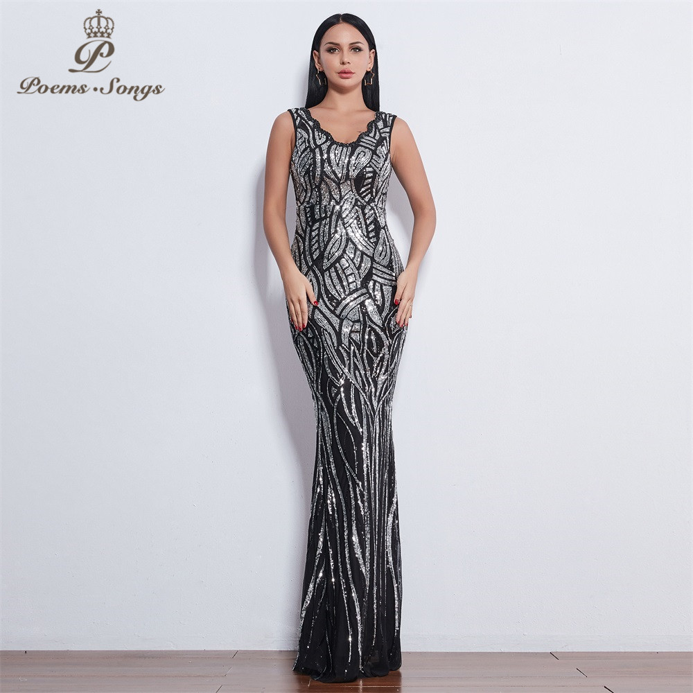 Poems Songs 2019 sleeveless   Evening     dresses   long vestido de festa longo robe de soiree   evening   gowns vestidos elegante