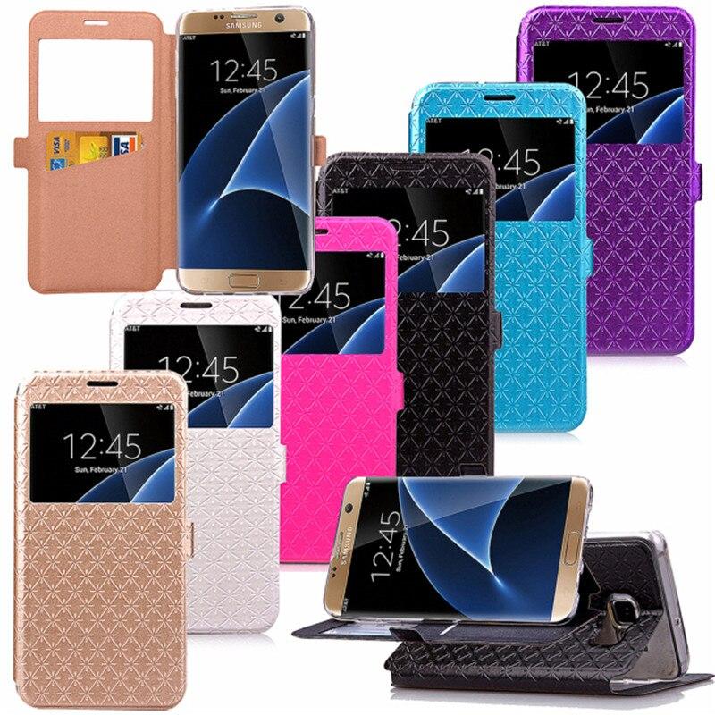 4e965a12810 Para Samsung Galaxy S7 borde g9350 caso lujo Plaid Flip TPU cuero Carcasas  soporte función cubierta 7 s negro SM s7edge