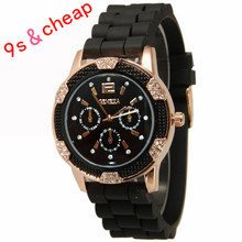 Women's White Rose Gold Chronograph Silicone with Crystal Rhinestones watch Free shipping #250717