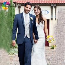 Navy Blue Men Suit Groom Wedding Suits Formal Groomsmen Tuxedos Slim Fit Best Man Blazers Jacket 3 Piece with Pants