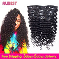 7A Grade 120g Clip in Human Hair Extensions Indian Deep Wave Human Hair Clip In Extensions Natural Color Human Virgin Hair